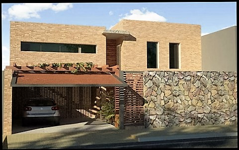 fachadas de casas modernas con piedra muy bellas