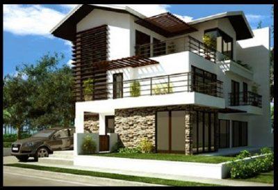 fachadas-de-casas-con-balcon-y-cochera