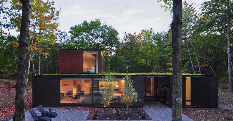Casa con techo verde en lo profundo del bosque