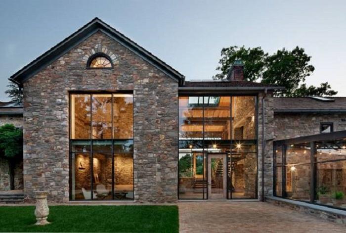 casas modernas con piedra