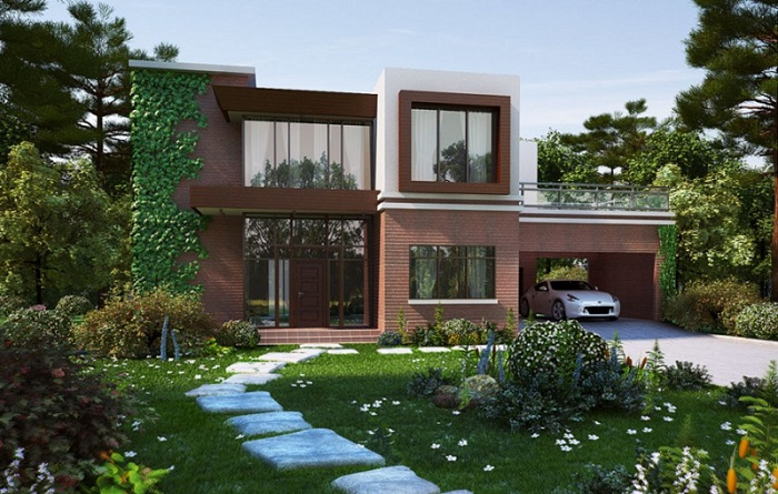 Fachadas de casas con cochera y jardin imagenes de casas for Fachadas de jardines para casas